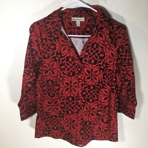 Red Black Floral Print Button Down Small, ST72